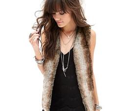 Wholesale Women Fur Winter Coats Xxl - Winter Women Faux Fur Faux Fur Vest Gilet V-Neck Sleeveless Short Cardigan Jacket Coat Outerwear Coats S-XXL