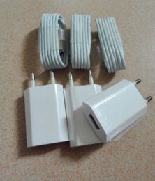 Wholesale Ipad4 Cables - 3pcs EU Travel Home AC Wall Charger Adapter+3Pcs Data Sync Cable Cord for GALAXY Tab IPAD4 iPhone 6 6s 6 s plus