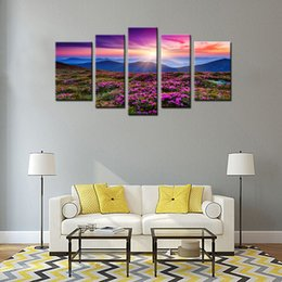 Wholesale Red Azaleas - 5 Panels Wall Art Canvas Painting Red Azaleas all over the Mountains Landscape Picture Print on Canvas with Framed For Home Decoration