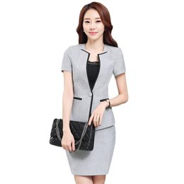 Wholesale Suit Jacket Women Designs - Fashion Uniform Design Work Wear Suits Blazer With Skirt Sets Ladies Jackets Novelty Professional Office for Business Plus Size