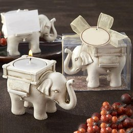 Wholesale Candle Packaging Wholesale - 50pcs lot Hot Sale Bridal Wedding Shower Favor Gift Ivory Fun Elephant Tea Light Candle Holder With Elegant Packaging