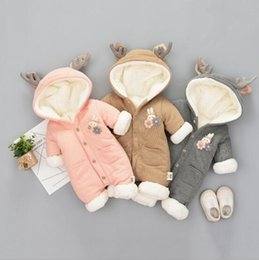 Wholesale Hoodies Christmas - INS Baby kid long sleeve winter warm cotton and cashmere hoodies romper outwear girl boy infant winter romper clothing with rabbit accessary