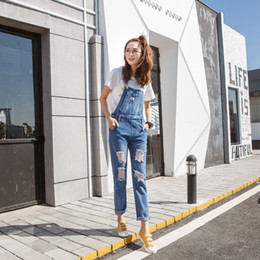 Wholesale Vintage Lucky Brand - Wholesale- LUCKY STAR Brand Women Denim Jumpsuit 2017 Spring Casual All Match Slim Vintage Loose Solid Jeans Overall Women Clothing A129