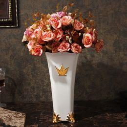 Wholesale Gilt Furniture - Mesa vase simple European living room furniture creative marbling flower bottle decoration water can pepe Noble gilding vase Free Shipping