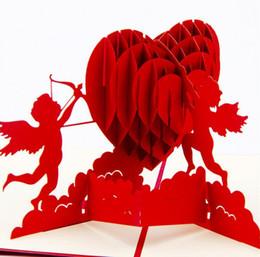 Lettere d'invito online-3D Pop Up Invito a nozze Cartoline Carte regalo Laser Cut Heart Blank Invito d'epoca Matrimonio Love Letters Messaggi