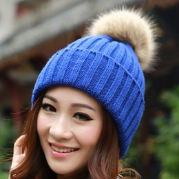 Wholesale Ear Protect - 2017 Women Spring Winter Hats Beanies Woolen Knitted Cap Crochet Hat Rabbit Fur Pompons Ear Protect Casual Cap Chapeu Feminino