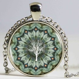 Wholesale Flowering Trees Pictures - Cicada Tree Mandala Flower Antique Jewelry Glass Cabochon Silver Long Chain Necklace Tradition Picture Pendant Necklace
