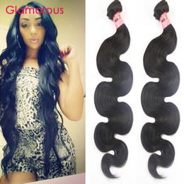 Wholesale Fashion Russian Style - Glamorous Indian Body Wave Human Hair Weaves 2 Bundles Fashion Wavy Hair Style Peruvian Malaysian Brazilian Virgin Hair Weft for black women