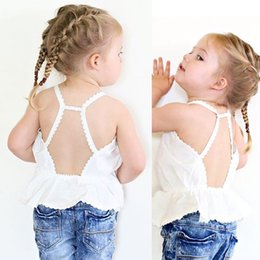 Wholesale Lace Tank Tops Toddler - Girls Tank Tops Cotton Kids Lace Sun Camisole Children Clothing Fashion White Vest Summer Boutique Toddler Clothes New