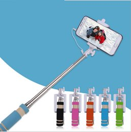 Wholesale Universal Self Timer Camera - Mobile phone mini-line control smart portable remote control self-timer pole portable telescopic camera artifact wholesale