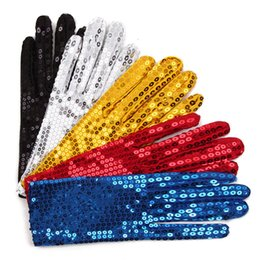 Wholesale Dancing Gloves For Men - 5 colors Children Kids Sparkle Sequin Wrist Gloves for Party Dance Event Kids Costume Cosplay Perform free shipping JF027
