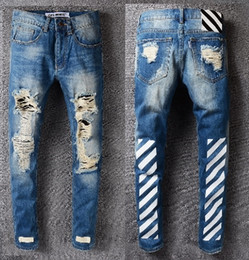 Wholesale New Mix Skinny Jeans - Off White Jeans 2017 Mix Models New Mens Wear Striped Rose Embroidery skinny masticate men destoryed jeans Denim Pants Jeans Jogger Pants