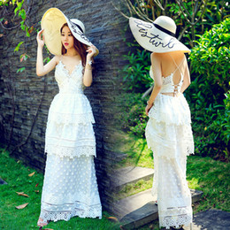 Wholesale Vacations Summer - 2017 new women's vacation fashion sexy spaghetti strap layered lace floral back cross bandage hollow out maxi long dress vestidos