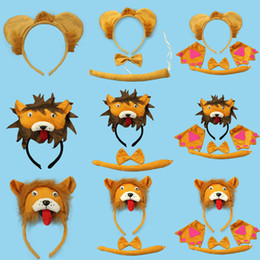 Wholesale Brown Tail - Cartoon Animal Lion Baby Children Party Headbands Ears Headband Tail Bow Tie Hair Accessories Kids Hairbands for Girls Bow