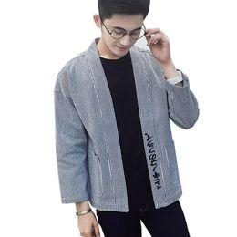 Wholesale Japanese Men Fashion Style - Men Casual Jacket Japanese Kimono Style Cardigan Women Men Street Fashion Overcoat Male Hip-hop Coat