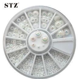 Wholesale 3d Nail Art Supplies Wholesale - Wholesale- 6Size Pearls Wheels High Quality Shinning Milticolor 6mm Glitter Flatback Beads 3d Nail Art Rhinestones Nail Supplies NC075