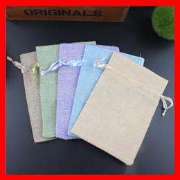 Wholesale Jute String Wholesale - Wholesale- 100pcs lot small jute linen drawstring gift pouch bags