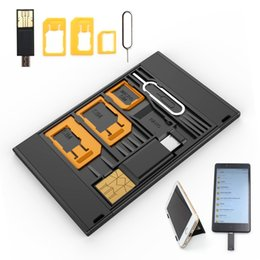 Wholesale Iphone Usb Reader - SIM Card Card Case Storage Phone Holder with 3 SIM Card Adapters, 1 Micro USB OTG Reader and Smartphone Tray Ope