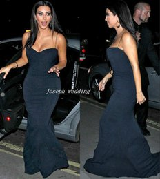 Wholesale Sweetheart Pleated Cocktail Dresses - Free Shipping Vestidos Kim Kardashian Evening Dresses Mermaid Sweetheart Spaghetti Straps Black Floor Length Long Red Carpet Gown