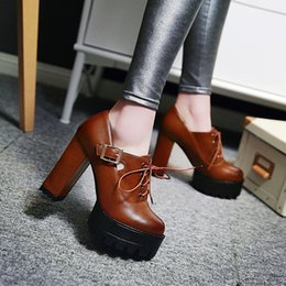 Wholesale red thick heels boots - Wholesale- 2016 New Autumn Female Motorcycle Boots Women Pumps Platform Thick High Heels Single Shoes Girls Ankle Boots Lacing Plus Size