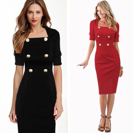 Wholesale Casual Dress Double Breasted Women - Black and Red Women Office Work Wear Pencil Dress Casual Bodycon Short Sleeve Double Breasted Gold Button Dress Vestidos