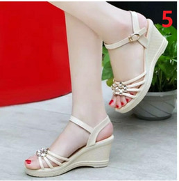 Wholesale Navy Wedge Heels - Wholesale-2017 new Fashion Sexy Summer wedges Hollow out Sweet Gril Casual Women Sandal Shoe size 35-39