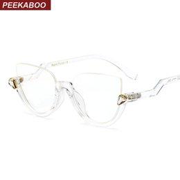 Wholesale Model Eyeglasses - Wholesale- Peekaboo 8 models transparent clear cat eye glasses sexy retro fashion vintage optical frames eyeglasses for women with box