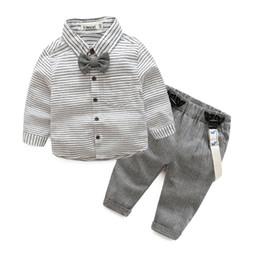 Wholesale Summer Striped Shirts For Boys - newborn baby clothes sets gentleman baby boy grey striped shirt+overalls fashion baby boy clothes for gift tz990