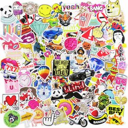 Wholesale Cool Laptop Decals - 500 pcs Car Stickers Mixed JDM Car Styling Luggage Doodle Decal Laptop Phone Snowboard Bike Motorcycle Car Cover Cool DIY Sticker