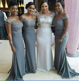 Wholesale Silver Grey Mermaid Dresses - Cheap Off the Shoulder Grey Bridesmaid Dresses 2017 Plus Size African Sexy Maid Of Honor Gowns Formal Wedding Guest Dress Short Sleeves