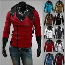 Wholesale Sweater Zippers Sleeves - NEW HOT Men's Coat Slim Personalized hat Design Hoodies & Sweatshirts Jacket Sweater Assassins creed Size M-6XL Plus Size