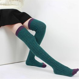 Wholesale Women Wool Knee Socks - Wholesale- Autumn winter wool socks women stockings Warm Fashion Thigh High Over the Knee Socks Long Absorbent Breathable Socks QR443