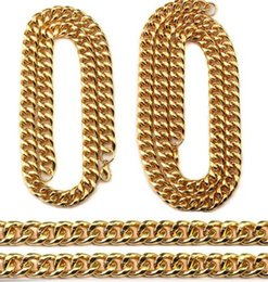 Wholesale Mens Solid 14k Bracelets - Hip Hop Empire Chunky Solid Cuban Curb Link Chain Necklace Bracelet Mens Gifts