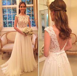Wholesale Sexy Chiffon Short Fancy - Modest Wedding Dresses 2017 Cheap Scoop A Line Sweep Train Appliques Fancy 2016 Chiffon Open Back Bridal Gowns robe de mariage