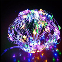 Wholesale Mini Fairy String Lights Battery - 50pcs 10M 100Led Silver Wire Copper Wire mini String Fairy Lights Fairy String Lights lamp for wedding Christmas Holiday Party
