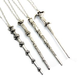 Wholesale Silver Link Necklace Pendant - Vintage Harry Movie Inspired Magic Wand Pendant Necklace Antique Bronze Silver for Potter Head Gift CX318