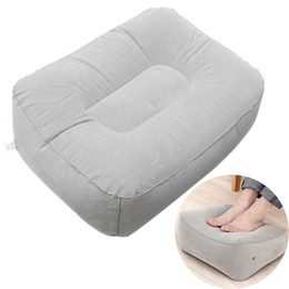 Wholesale Train Cushion - New PVC Gray Train Flight Travel Inflatable Foot Rest Pillow Portable Pad Mat Footrest Pillow Home Outdoor Foot Relief Cushion