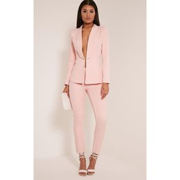 Wholesale Woman Business Pants Suits - New Light Pink 2017 fashion womens business suits ladies elegant formal pant suits for weddings female trouser suits Custom
