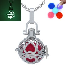 Wholesale Glow Dark Crystals - Glow in the Dark Luminous Beads Heart Cage Locket Magic Box Pendant Necklace For Fragrance Essential Oil Aromatherapy Diffuser Jewelry