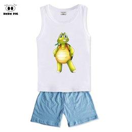 Wholesale Pigs Cartoons Baby Clothes - DMDM PIG 2017 New Cartoon Summer Baby Boy Clothing Set Tank Top + Shorts Kid Boy Clothes Set Children Boy Clothes Set Sleeveless