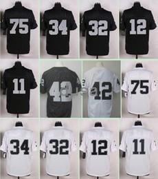 Wholesale 34 75 Size - 2017 Stitched Jerseys 42 Joseph 75 Long 34 Jackson 32 Allen 12 Stabler 11 Janikowski Black White Size 40-56 Free Drop Shipping