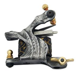 Wholesale Damascus Liner Shader - 5Pcs lot Professional Damascus Tattoo Machine 10 Wrap Coils Iron Cast Frame Custom Tattoo Gun For Liner Shader DTM-7572
