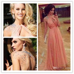 Wholesale Unique Peach Prom - 2017 Elegant Sexy Stunning Unique Design Sexy Halter Rhinestone Chiffon Peach Color Long Prom Dresses Evening Dresses Free Shipping
