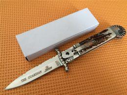 Melhores acabamentos on-line-A melhor edtion Hubertus Solingen Itália O GUARDIAN Swing Guard Swing Guard com acrílico stag polonês lâmina de acabamento facas faca dobrável