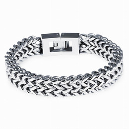 Wholesale Top Mens Gifts Wholesale - Top Quality 316L Stainless Steel Bracelet Silver Color Link Chain Mens Chain Biker Wristband Bangle Wholesale Jewelry