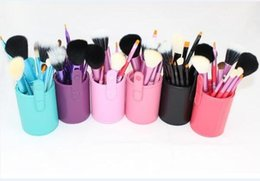 Make-up pinsel tasse inhaber fall online-100set 12pcs / lset Makeup Tools Bürsten Fashional Kosmetik Pinsel Set Kits Werkzeug 5 Farben Gesichts Make-up Pinsel mit Becherhalter Fall A128