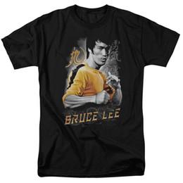 Wholesale Unique Tee Shirts - Unique T Shirts Short Bruce Lee Yellow Dragon Licensed S-2Xl Crew Neck Fashion 2017 Tee Shirts For Men