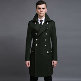 Wholesale Mens Pea Coat Jackets - Wholesale- Design mens coats and jackets S-6XL oversized tall and big men green woolen coat germany army navy pea coat free shipping