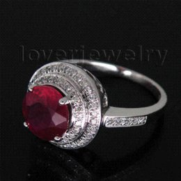 Wholesale Natural Diamond Rings Solid Gold - New 3.31ct Solid 14Kt White Gold Diamond Natural Ruby Wedding Ring Vintage Fine Jewelry for New Year Gift