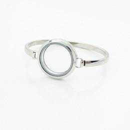 Wholesale wholesale locket bracelet - Hot Selling 7Inch 8Inch Silver 316L Stainless Steel Floating Locket Bangles Bracelets 30mm Locket Bangle